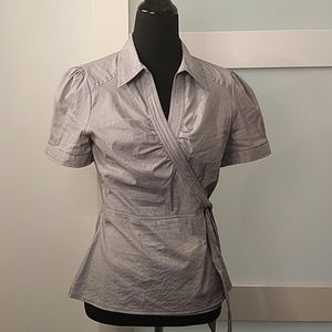 H & M Striped Wrap Blouse Stretch. Size 12